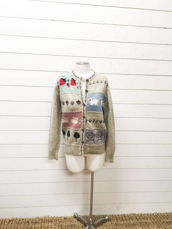 Vintage ladies sweater wool woolrich cardigan stra