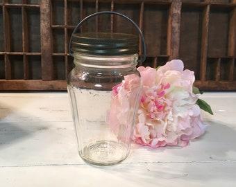 Vintage glass jar metal handle lid Hazel atlas decor container storage bail farmhouse wedding gift craft holder kitchen makeup bath country