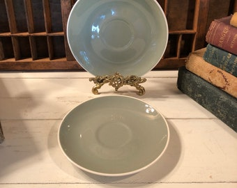 Vintage Harkerware Saucers Two Saucers , Harerware Replacement Saucers , Sage Green , Creamy White , USA , Oven Proof , Dishwasher Proof