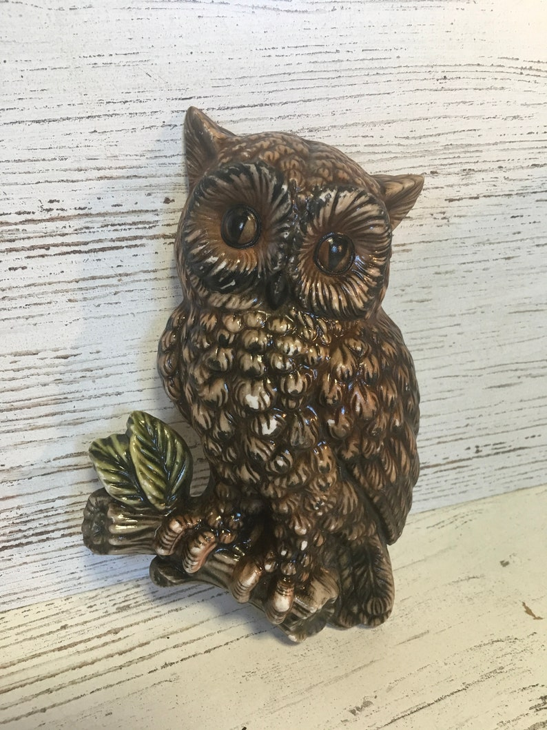 Vintage owl decor ceramic zavoy mold porcelain decor midcentury wall decor  bird craft repurpose funky