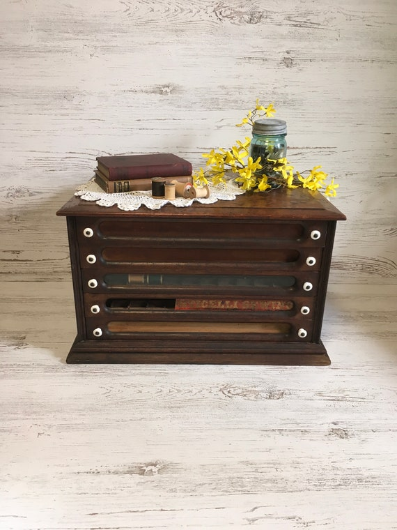 image 0 - Vintage Thread Cabinet Wood Spool Cabinet Store Display Sewing Etsy