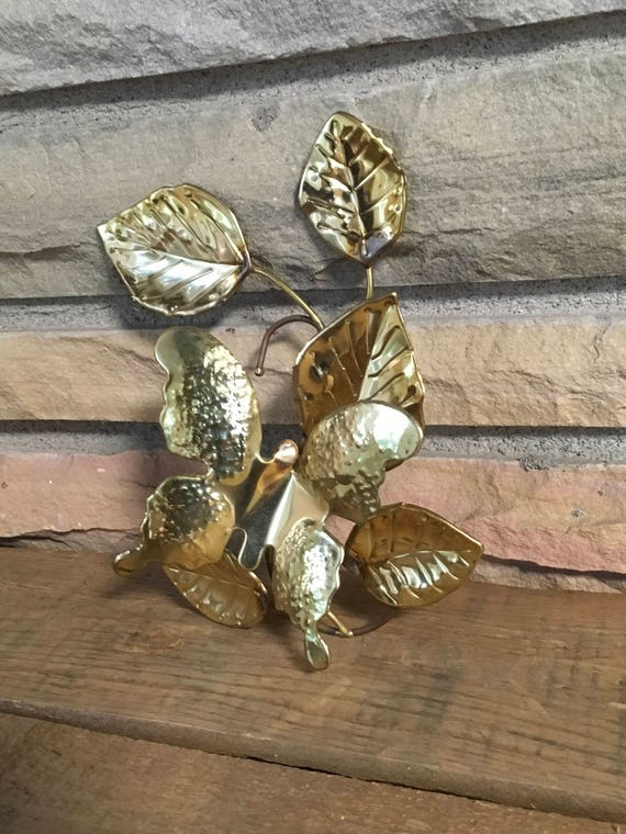 Vintage Brass Butterfly Wall Decor Metal Leaf Accent Gold Etsy
