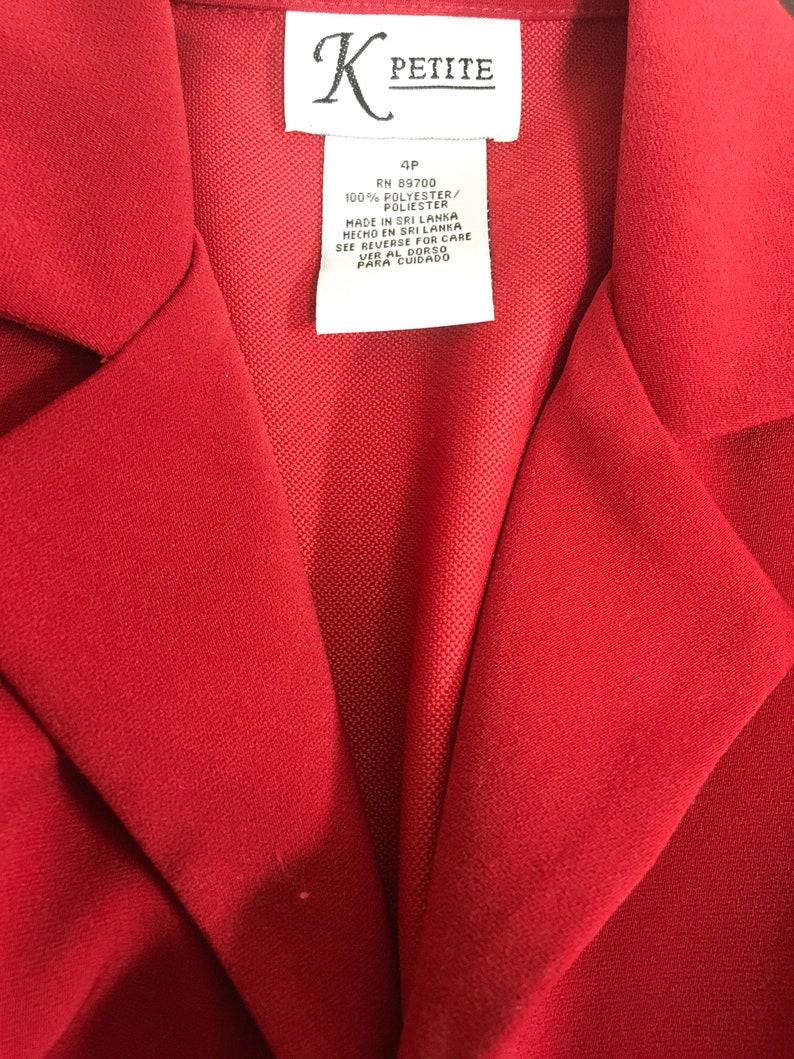 Vintage ladies jacket skirt suit 4-6 petite red gray office secretary polyester dress