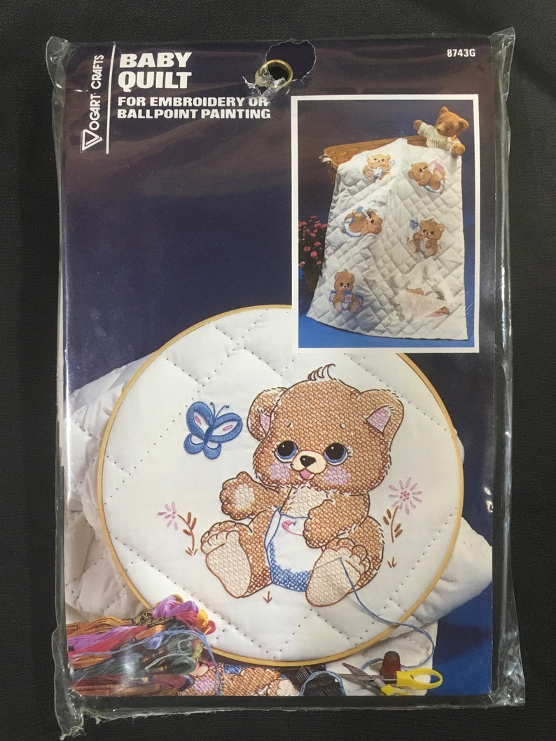 Vintage quilt blocks vogart embroidery stamped bear nursery baby needle work cross stitch craft sewing decor baby gift fabric