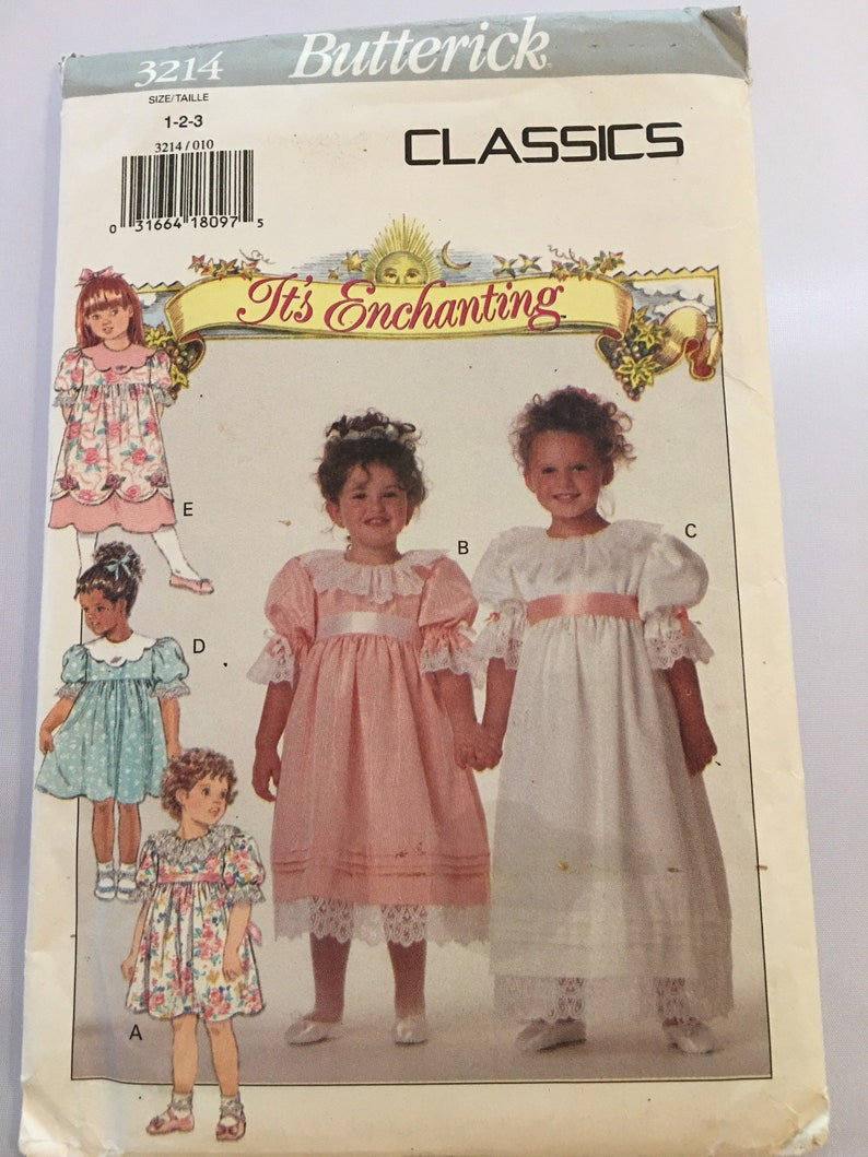 3214 Butterick Easy Toddler Girls Dress Vintage Sewing Pattern  sz 1-3 Scallop and  Lace Collar