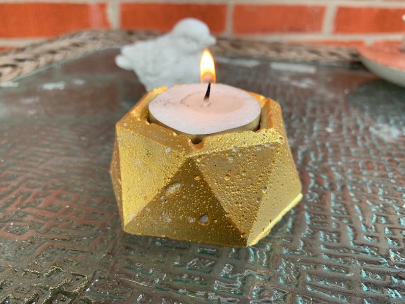 2 Artisanal Gold Concrete Tea Light Candleholder Set