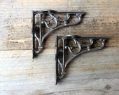 Pair of Cast Iron Classic Victorian Scroll Shelf Brackets Vintage Style, Antique Style 3 by 4 inch