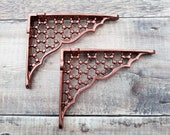 Pair of Cast Iron Copper Shelf Brackets Metal Antique 6 inch by 4 3 4 inch Honeycomb Cast Iron Shelf Brackets
