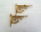 Pair of Victorian Scroll Gold Finish Cast Iron Shelf Bracket Vintage Rustic Style, Antique Style Shabby