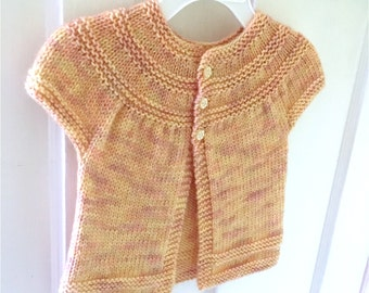 Knitted Baby Girl Cardigan, Baby, Toddler Cardigan, Baby Girl Sweater, Yellow Baby Sweater, Baby Shower Gift, READY TO SHIP