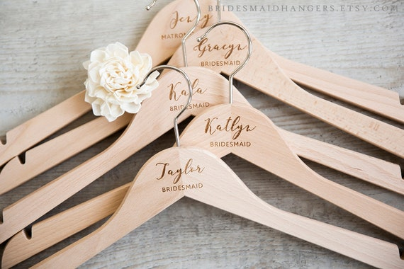 Bachelorette Party Favors-Bridal Party Wood Wedding Hangers-Bridal Party Hangers with notches-Bridal Gift-Wedding Gift Fast Processing