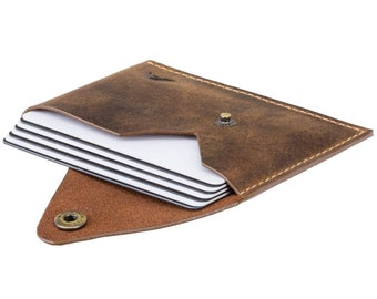 Leather Business Card Holder / Minimalistic Leather Card Holder Pouch / Leather Card Sleeve / Leather Card Case - Button Close Handmade