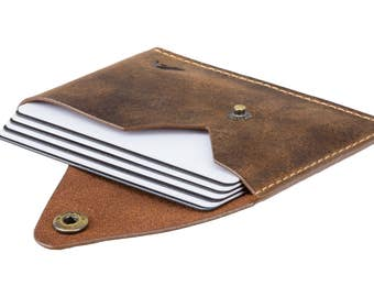 Business Card Holder - A-SLIM - Raw Tan - Distressed Leather - Tsuki - Card Case - Minimalist Wallet - Button Wallet - Front Pocket Wallet