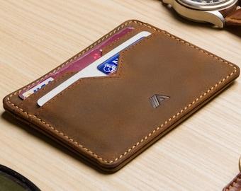 MENS DESIGNER PREMIUM BROWN QUALITY REAL LEATHER WALLET CREDIT CARD HOLDER BOXED