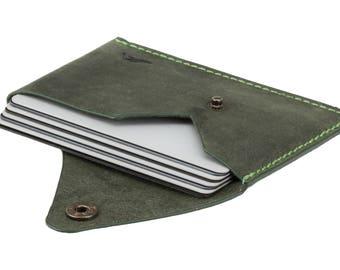 Green Leather Business Card Holder - Minimalist Wallet - Slim Wallet for Men - Raw Green - Credit Card Case - Genuine Leather Card Holder