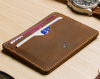 super slim leather card holder or card wallet a slim raw tan yaiba minimalist wallet cardholder card case front pocket wallet - Leather Credit Card Holder