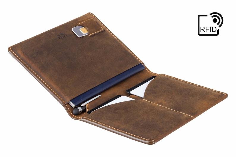 40c9f68f2c7 Luxury RFID Leather Passport Holder   Travel Wallet Raw Tan