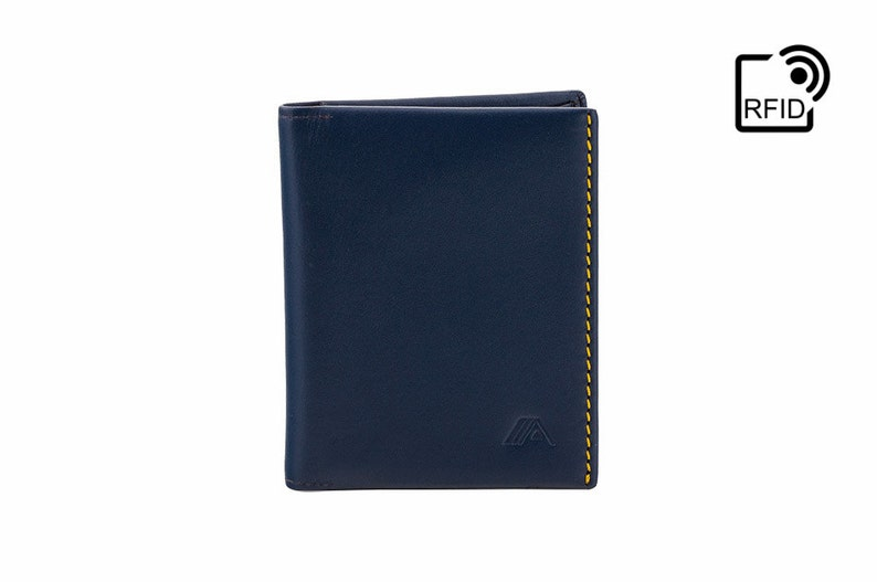 a7a900a56401 RFID Slim Leather wallet - Minimal wallet   card holder   card wallet -  Blue Yellow - A-SLIM - Origami - Small Wallet - Mens Wallet