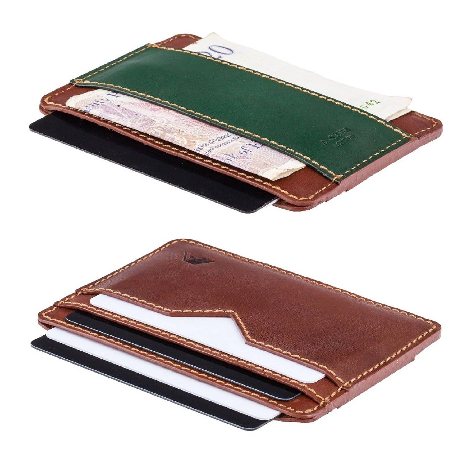 Super-sottile carta e contanti portafoglio - minimalista man portafoglio in pelle - A-SLIM - Tan/verde - Gents Sunnari - Card e contanti - portafoglio in pelle