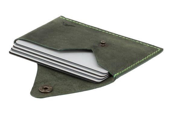 Aslimlondon green leather business card holder minimalist wallet green leather business card holder minimalist wallet slim wallet for men raw green reheart Gallery