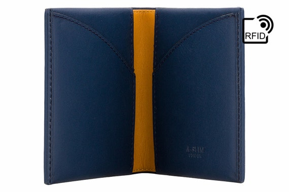 Portafoglio in pelle Slim RFID - Minimal / titolare della carta / card portafoglio - blu/giallo - A-SLIM - Origami - portafoglio piccolo - Mens Wallet