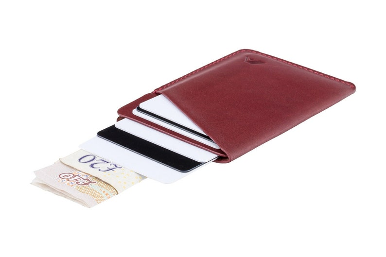 0de285fbe6af Leather Micro Card Sleeve Wallet Molten Red A-SLIM Ninja