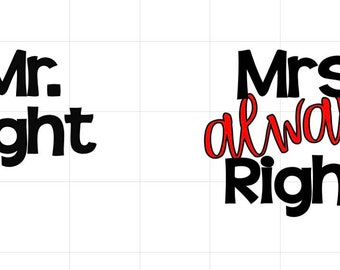 Mr and Mrs Vinyl Decal Set