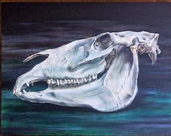 Horse skull Original oil painting