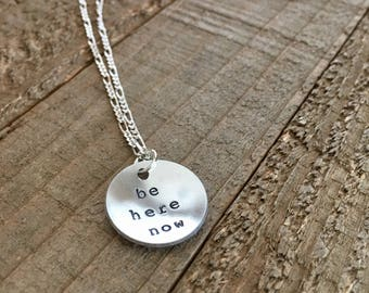 """Mason Jennings-Be Here Now-3/4"""" handstamped necklace-gift"""