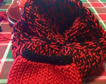 Cheerful red Infinity Scarf & Matching Headband