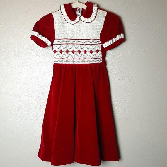 Vintage Spanish smocked velvet dress