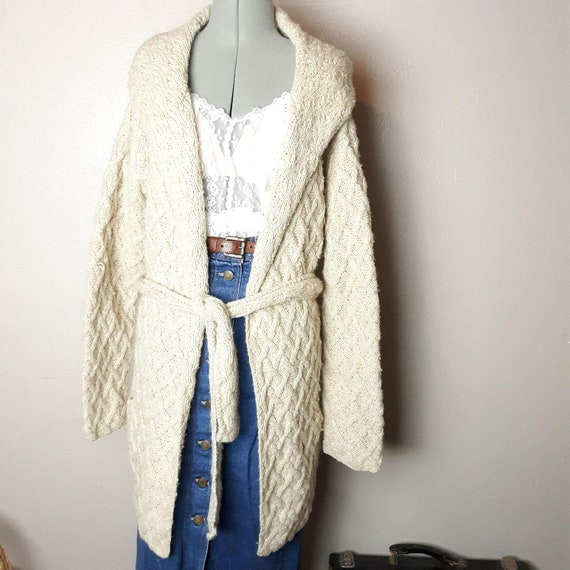 Y2k hand knit wool alpaca cable knit long cardigan