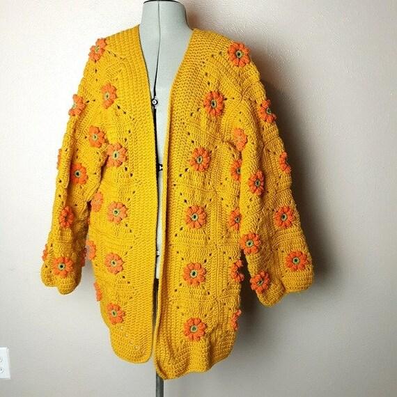 VTG mustard granny square floral cardigan