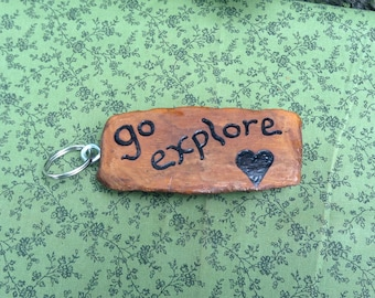 Driftwood Pyrography Key Chain - go explore - Unique Key Ring