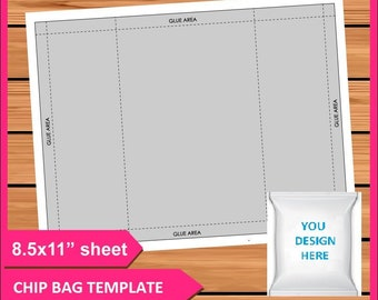 Chip Bag Template Psd Png And Svg Files 8 5x11 Digital Printable