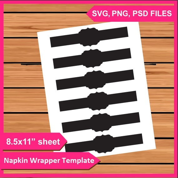 photo relating to Printable Napkin Rings Template titled Napkin Wrappers Template, Napkin Ring Template Instantaneous Obtain PSD, PNG and SVG documents Electronic Printable do it yourself your particular Napkin Wrap Mockup
