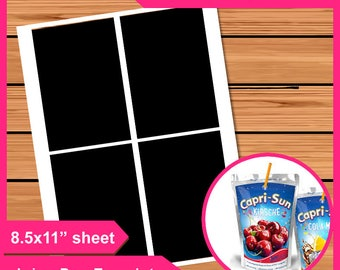"""Capri sun Juice bag labels Layer Template Instant Download Dxf, PSD, PNG and SVG Files  8.5x11"""" Digital  Printable Treat bag diy your own"""