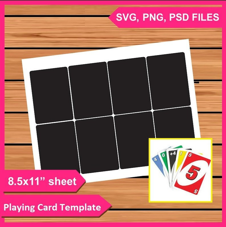 Playing Cards Template Instant Download Psd Png And Svg Files 8 5x11 Digital Printable Party Treat Gift Favors Card Diy