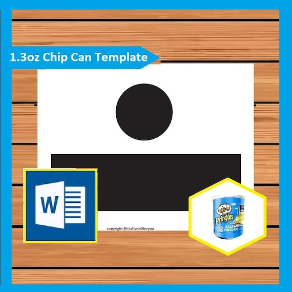 1 3 oz Small Pringles Potato chip Can Wrapper Template Instant MS Word doc  docx file 8 5x11