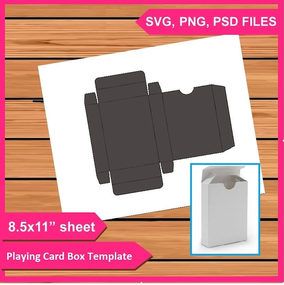 Playing Cards Box Template Instant Download Psd Png And Svg Files 8 5x11 Digital Printable Party Treat Gift Card Boxes Favors Diy