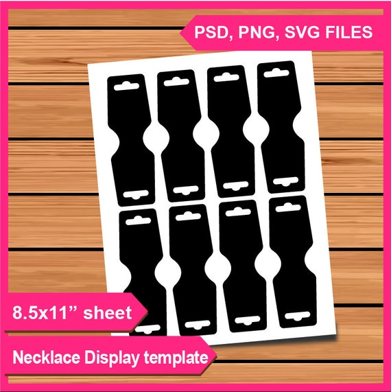 Necklace Hang Tag Template Instant Download Psd Png And Svg Formats 8 5x11 Digital Transparent Printable Diy Card Fold Over Tag Die Cut