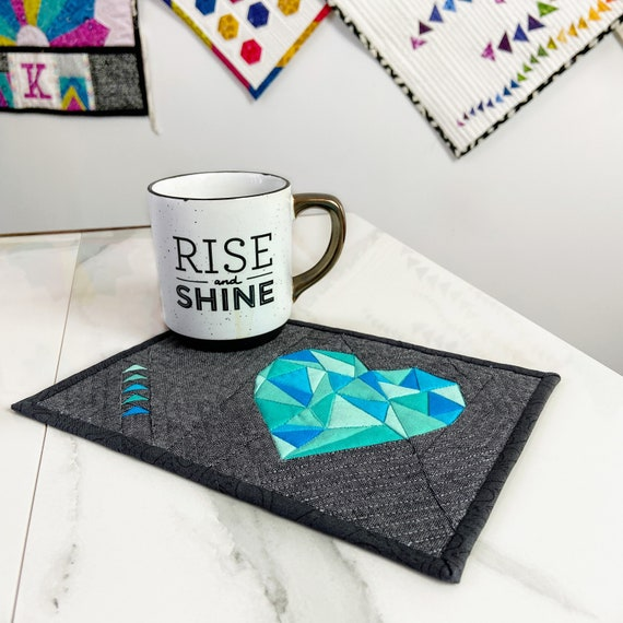 FSHP Colorful Heart Pattern Handmade Decorative Artwork Glass Mug