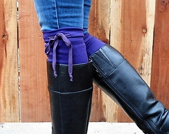 boot toppers boot cuffs purple Boot cuffs, purple draw tie boot topper, purple legwarmers, women's Christmas gift