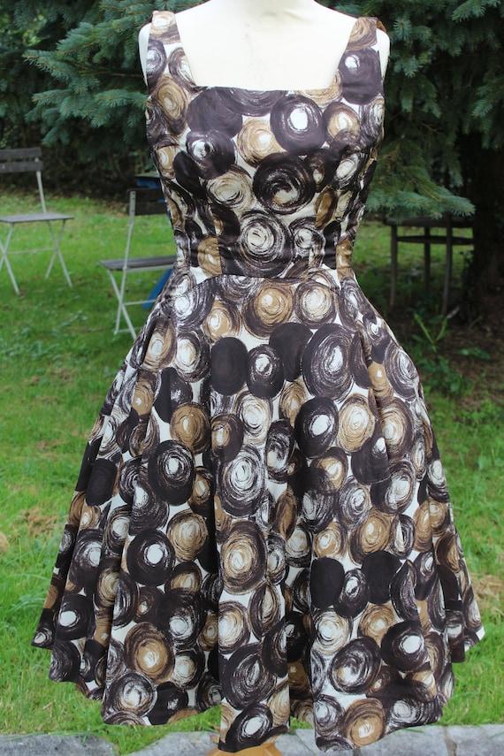 Wonderful French Vintage 1950s Dress / Brown Atomi