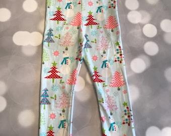 fe66eed7f97616 Snowman Leggings - holiday leggings - toddler leggings - christmas leggings  - blue christmas trees - pink christmas trees - glitter leggings