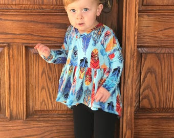 Winter Park Top (Trendy feathers high low peplum top // girls tunic - swing top - girl outfit - spring outfit - feathers - twirly top)