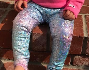 Unicorn leggings- baby girl leggings- toddler leggings- kids leggings- metallic, sparkly holographic leggings- whimsical sunset leggings
