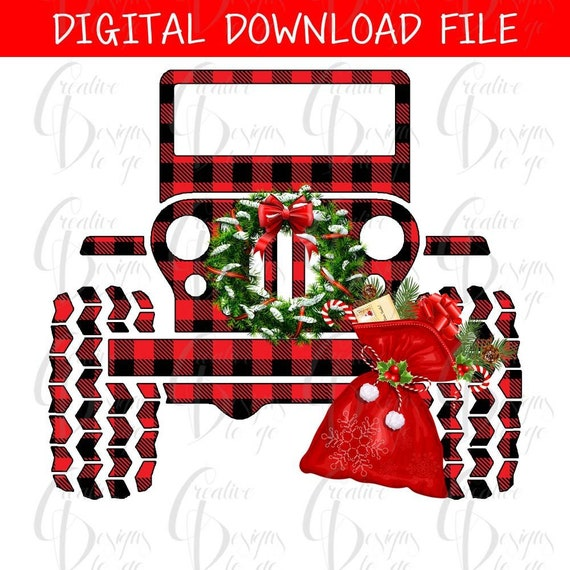 Christmas Jeep.Jeep Christmas Jeep Buffalo Plaid Digital Image Png Instant Download For Sublimation Design