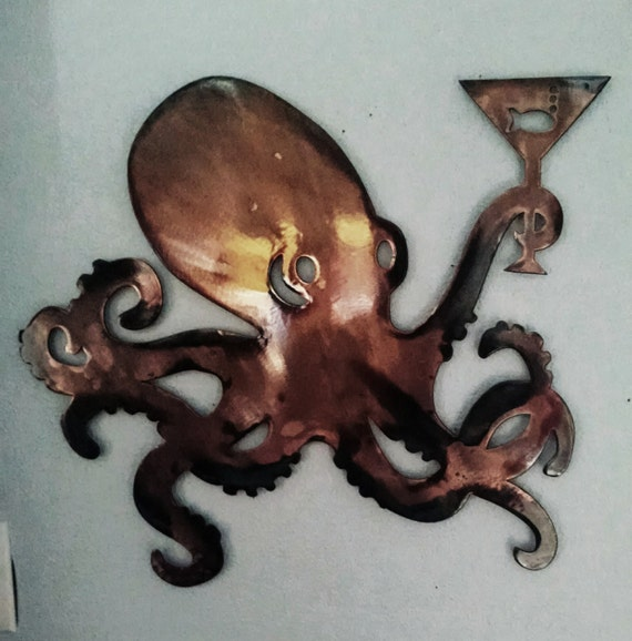 Octopus w/ Martini Glass - Wall Hanging