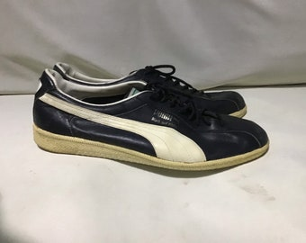 0498636054bb RARE Vintage 70s Puma Black and White Sneaker Shoes 11uk